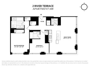 floorplan for 2 River Terrace #18B