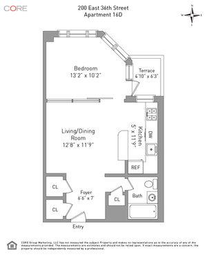 floorplan for 200 East 36th Street #16D
