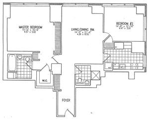 floorplan for 845 United Nations Plaza #12H