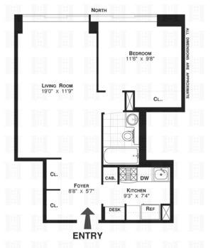 floorplan for 61 West 62nd Street #26C