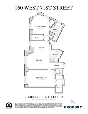 floorplan for 160 West 71st Street #16N