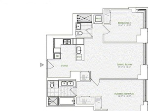 floorplan for 2 River Terrace #10C