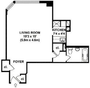 floorplan for 200 East 36th Street #12J