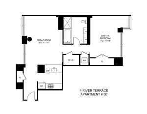 floorplan for 2 River Terrace #5B