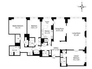 floorplan for 845 United Nations Plaza #75B