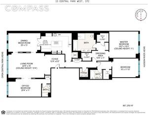 floorplan for 15 Central Park West #37C