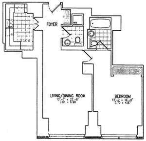floorplan for 845 United Nations Plaza #8C