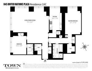 floorplan for 845 United Nations Plaza #33C