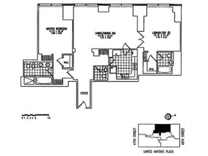 floorplan for 845 United Nations Plaza #57D