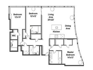floorplan for 2 River Terrace #11H