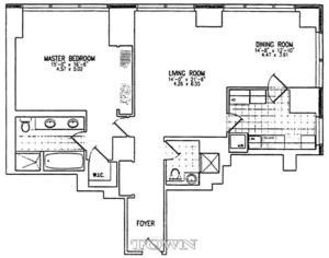 floorplan for 845 United Nations Plaza #25H