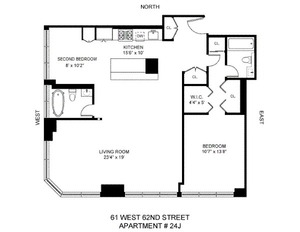 floorplan for 61 West 62nd Street #24J