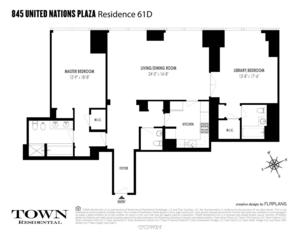 floorplan for 845 United Nations Plaza #61D