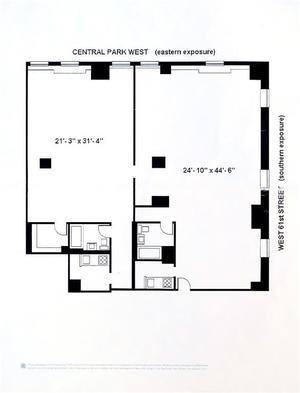 floorplan for 15 Central Park West 102/103