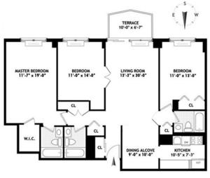 floorplan for 220 E 65th Street #4G