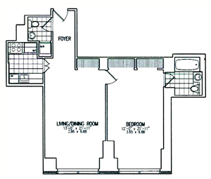 floorplan for 845 United Nations Plaza #12B
