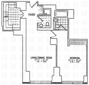 floorplan for 845 United Nations Plaza #24C