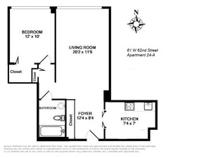 floorplan for 61 West 62nd Street #24A