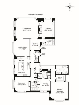 floorplan for 15 Central Park West #35D