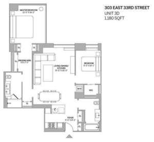floorplan for 303 East 33rd Street #3D