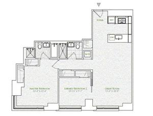 floorplan for 2 River Terrace #3E