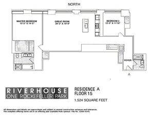 floorplan for 2 River Terrace #15A