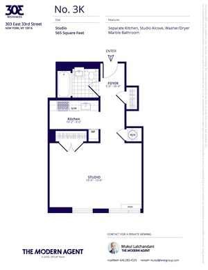 floorplan for 303 East 33rd Street #3K