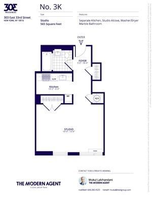 floorplan for 303 East 33rd Street #3K
