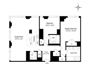 floorplan for 2 River Terrace #26B