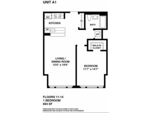 floorplan for 37 W. 21st Street #1105