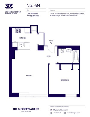 floorplan for 303 E 33rd Street #6N