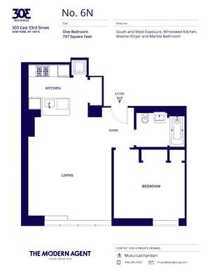 floorplan for 303 E 33rd Street #6N