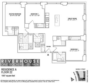 floorplan for 2 River Terrace #22A
