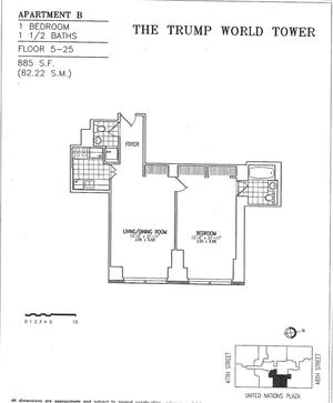 floorplan for 845 United Nations Plaza #15B