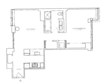 floorplan for 1 River Terr #9B