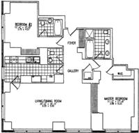 floorplan for 845 United Nations Plaza #24D