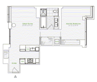 floorplan for 1 River Terrace #8B