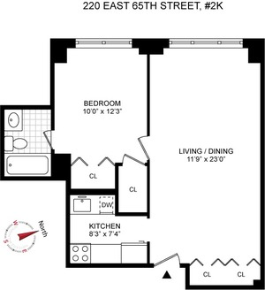 floorplan for 220 East 65th Street #2K