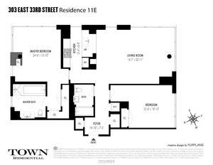 floorplan for 303 East 33rd Street #11E