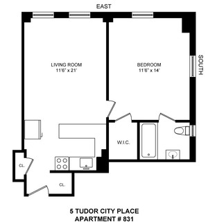 floorplan for 5 Tudor City Place #831