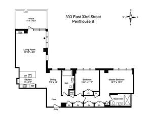floorplan for 303 East 33rd Street #PHB