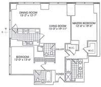 floorplan for 845 United Nations Plz #12E
