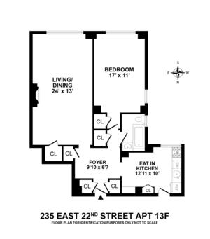 floorplan for 235 East 22nd Street #13F