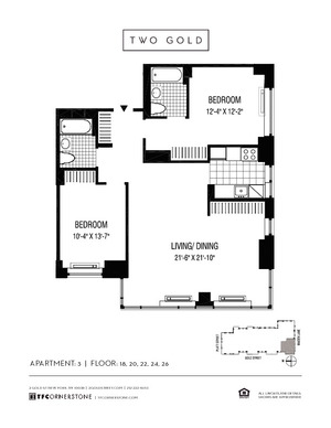 floorplan for 2 Gold Street #1803