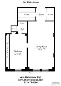 floorplan for 1 Fifth Avenue #15E