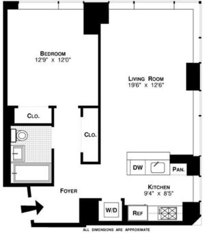 floorplan for 635 West 42nd Street #16A