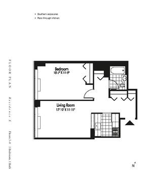 floorplan for 601 West 57th Street #4E