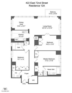 floorplan for 422 East 72nd Street #12A