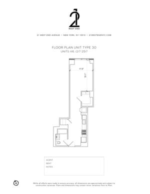 floorplan for 21 West End Avenue #1116