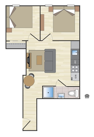 floorplan for 170 East 2nd Street #1B